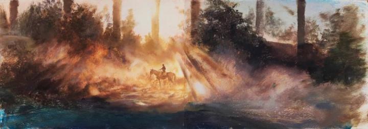《最后的征服者》 36×102cm纸本油画棒2021