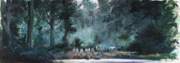 《深林》36×102cm 纸本油画棒2021