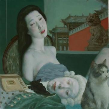 汪翀 《侯爵和他的女伴》 61x61cm 布面油画 2021