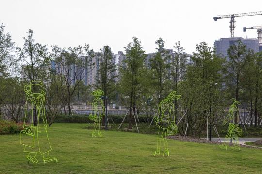 刘毅《春语者》H200-230cm 钢筋 , 草,钢板,油漆 2014