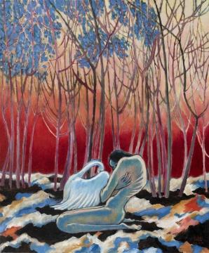 《天鹅与少女》 50x60cm 布面油画 2021