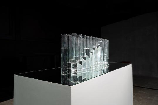 《双脊》 翡翠、玻璃杯、水 装置尺寸可变,40x90x24cm(翡翠)7700g 2021